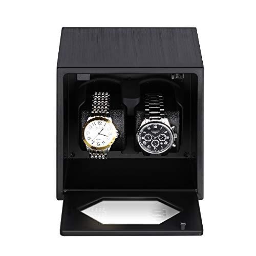 S1201B-S Uhrenbeweger Uhrenvitrine Uhrenbox Rectangle Mute Automatische Uhrenbeweger für 2 Uhren mit Lock schwarz