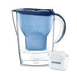 BRITA Wasserfilter Marella blau inkl. 1 MAXTRA+ Filterkartusche - BRITA Filter zur Reduzierung von Kalk, Chlor & geschmacksstörenden Stoffen im Wasser