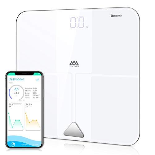 SENSSUN Digitale Personenwaage Körperfettwaage, ITO Smart Bluetooth Personenwaage mit APP, digitale Waage für Körperfett, BMI, Gewicht, Muskelmasse, Wasser,Knochengewicht, BMR, usw bis 180kg,Weiß