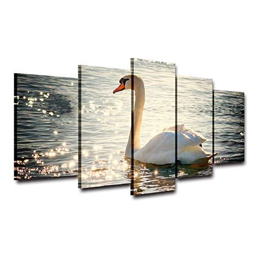 A&D Moderne Leinwandbilder HD Gedruckt Wandkunst 5 Stücke Tier Schwan Schwimmen Oberfläche Sonnenschein Wohnzimmer Wohnkultur Paint-30x60cmx2 30x80cmx2 Kein Rahmen