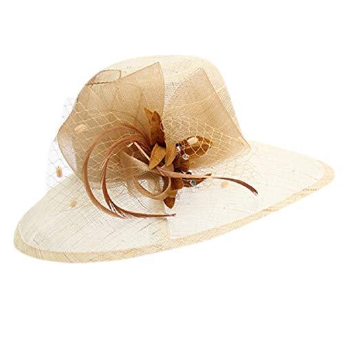 Barlingrock Retro Damen Sonnenhut Organza Wide Brim Cap für Party Outgoing Reversible Cloche Hut