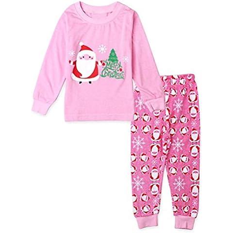Koly_Bambino di Natale Babbo Natale T-shirt + vestito di pantaloni