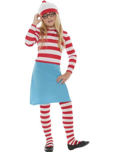 Girls Child's, 5-teilig, Where's Wally Wenda Waldo Book-Tage-Woche Fasching Kostüm inklusive Hose & Gläser (7-9 (Waldo Where's Von Waldo Kostüm)