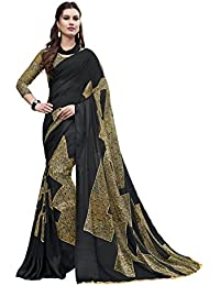 Gaurangi Creation Printed Georgette Satin Patta With Satin Border Saree For Women (Sur1003 Black & Beige)