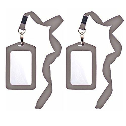 Affluence Schutzhülle für Ausweis, Kreditkartenfächer, Kunstleder, mit langem Umhängeband, 2 Stück, Grau