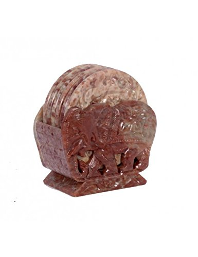Avinash Collection Juego de Posavasos de Piedra (Soporte) con 2 Elefantes en...