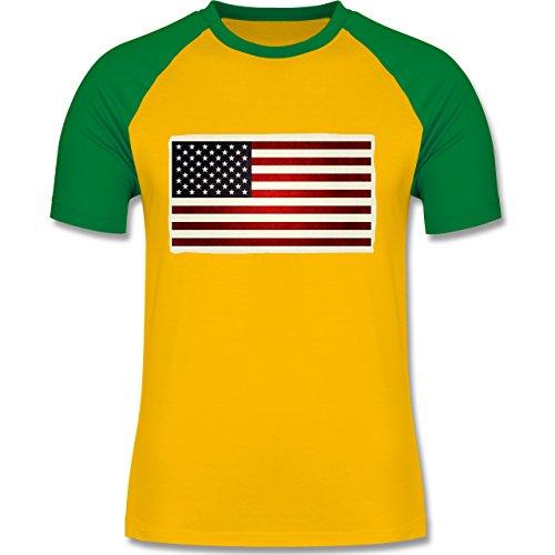 Kontinente - Flagge USA - zweifarbiges Baseballshirt für Männer Gelb/Grün