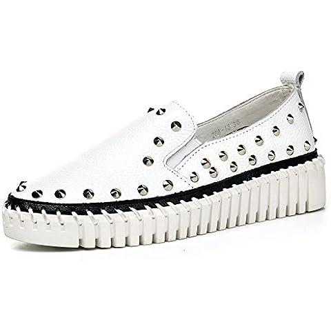 Cómodos Zapatos Planos Casuales De Cuero Tachonado -001