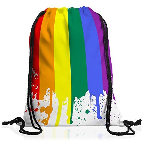 B-Creative Regenbogen-Flagge, Kordelzugbeutel, Gymsac Rucksack, Gay Pride, Kostüm, Regenbogen-Hüte, Schmuck, Party-Zubehör