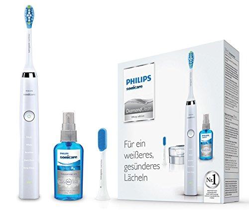 Philips Sonicare DiamondClean Neue Generation Elektrische Zahnbürste mit Schalltechnologie HX9326/86, 5 Putzprogramme, Zungenreiniger, weiß