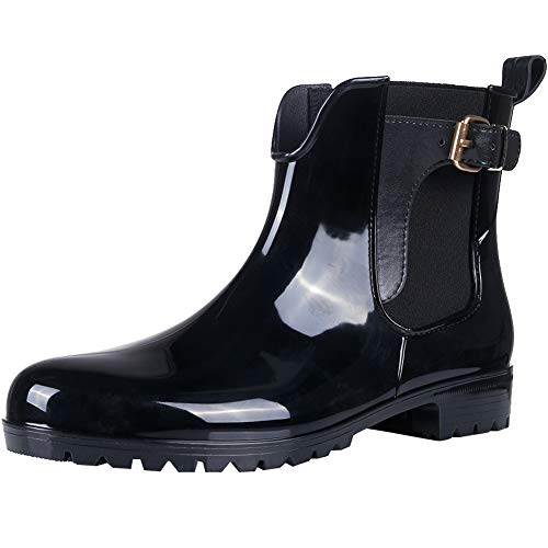 Womens Ankle Rain Boots Shiny Waterproof Short Boots