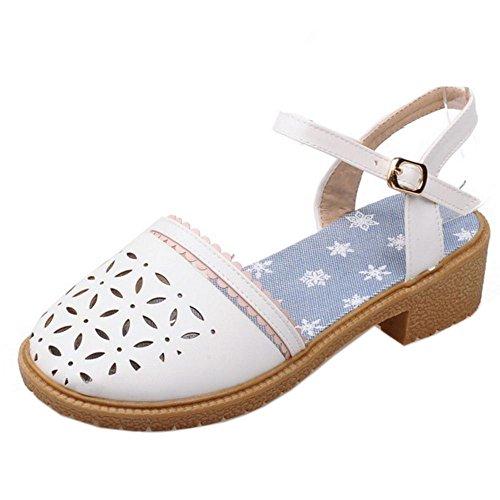 COOLCEPT Damen Mode Knochelriemchen Sandalen Blockabsatz Slingback Schuhe White