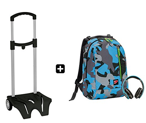 8556fbbb93 Zaino SEVEN – THE DOUBLE CAMOUFLAGE Blu + EASY TROLLEY – cuffie ...