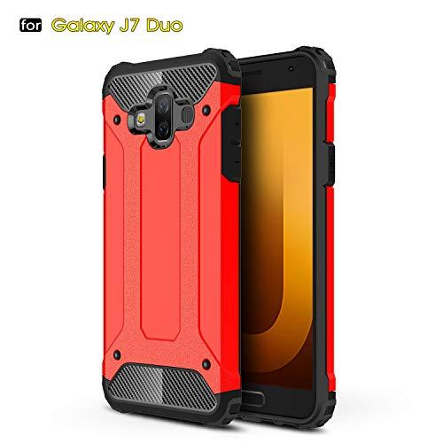 Aidinar Funda Samsung Galaxy J7 Duo, Funda Protectora Resistente a Prueba de Golpes Doble, PC Desmontable + TPU de Doble Capa Cubierta Protectora para Samsung Galaxy J7 Duo(Rojo)