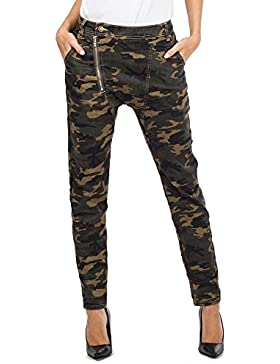 Pantalón de Camuflaje de Tiro Alto Jeans Militar Estilo Slim para Mujer - Verde Oscuro