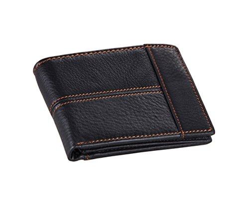 Everdoss Herren echt Leder Geldbörsen Geldbeutel kurz faltbare Portemonnaie Geldklammern viele Kartenfächer Schwarz
