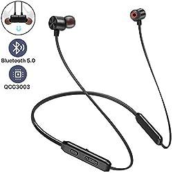 Écouteurs Bluetooth, Arespark Bluetooth Sports sans Fil 5.0 Hi-FI Stéréo Profond, Oreillettes Basses IPX7 Étanche 10 Heures de Lecture CVC 8.0 Étanche au Cou Écouteur magnétique dans l'oreille