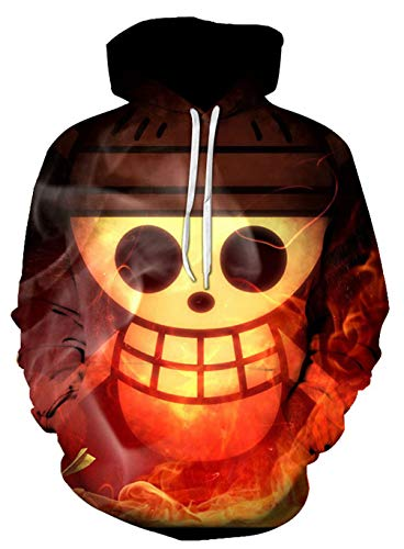 Cosstars One Piece Luffy Anime 3D Digitaldruck Kapuzenpullover Hoodie Cosplay Kostüm Pulli Sweatshirt Tops Mäntel 17 S (Luffy Cosplay Kostüm)