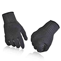 JIGAN Stainless Steel Wire Work Safety Gloves for Men Cut Metal Mesh Butcher Black,1 Pair