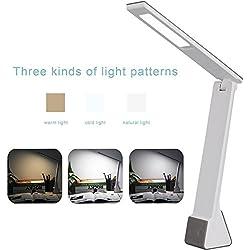 Ryham Ricaricabile Dimmable LED Desk Lamp cura degli occhi di ricarica USB Touch Control 4W 3 Modi freddo caldo di illuminazione per lo studio camera da letto lettura Bambino Ufficiale Grigio