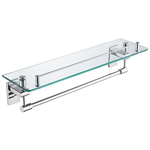 ZHEN GUO Étagère flottante moderne en verre avec le chrome poli SUS304 barre et serviette de rail d'acier inoxydable, stockage de douche fixé au mur pour la salle de bains lavabo, 18 pouces
