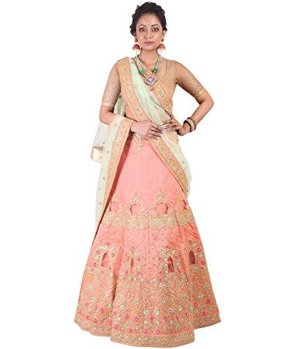 Indian Ethnicwear Bollywood Pakistani Wedding Peach A-Line Lehenga Semi-stitched-DIVISL013