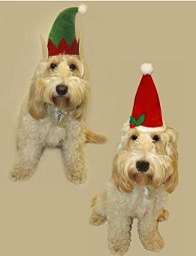 Set di 2 Pet-Cappelli da elfo, 1 x & 1 cappello da Babbo Natale, cani, gatti, cuccioli e animali di travestimento, colore cappello confezione da 2