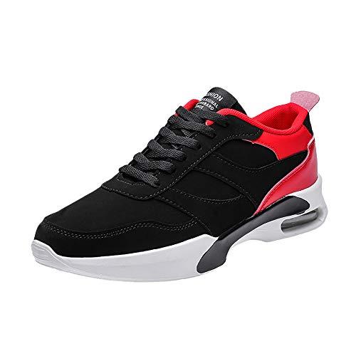 JiaMeng Zapatos para Correr En Montaña Asfalto Aire Libre Deportes Zapatillas con Cordones Planas Zapatillas Antideslizantes Resistentes al Desgaste Transpirables(Rojo,EU40=CN41)