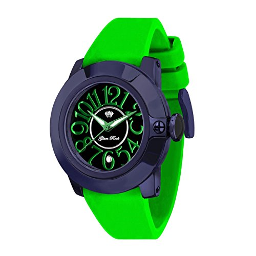 Glam Rock Women's Sobe 44mm Green Silicone Band IP Steel Case Swiss Quartz Black Dial Watch GR32049G