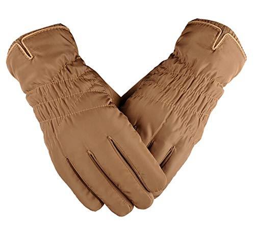 KnBoB Herbst Winter Handschuhe Für Herren Handschuhe Herren Touchscreen Herren Handschuhe Wasserdicht Baumwollsatin Hellbraun One Size