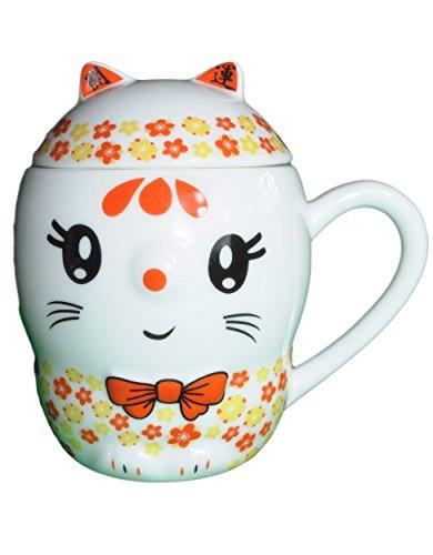 Superbe Tasse/Mug de Chat avec couvercle ! Différents Coloris (Orange)