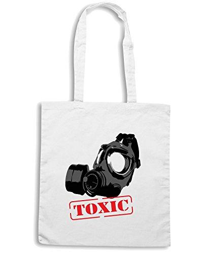 T-Shirtshock - Borsa Shopping T0607 toxic maschera militari Bianco