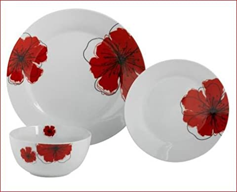 Living 12 Piece Porcelain Dinner Set With Timeless Poppies Design