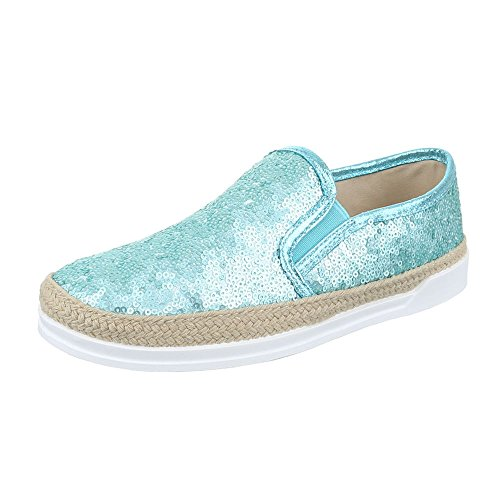 W-61, chaussures basses femme Türkis 50701