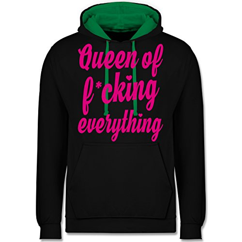 Statement Shirts - Queen of fucking everything - Kontrast Hoodie Schwarz/Grün
