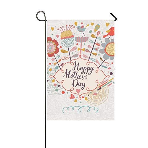 Home Dekorative Outdoor Doppelseitige Glückliche Muttertagskarte Cartoon-Stil Garten Flagge, Haus Yard Flagge, Garten Yard Dekorationen, saisonale Willkommen Outdoor Flagge 12 X 18 Zoll Frühling Somme