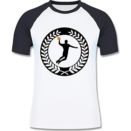 Handball - Handball Sichel Kranz - zweifarbiges Baseballshirt für Männer Weiß/Navy Blau