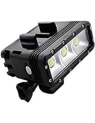 Suptig haute puissance intensité variable double batterie étanche LED Video Light Fill Veilleuse plongée sous-marine lumière pour GoPro Hero5/5S/4/4S/3+/3/2SJCAM SJ4000/SJ5000/Sj6000/Sj7000Xiaoyi