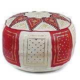 Medina Souvenirs Pouf fassi en cuir rouge et blanc, pouf marocain fait main en cuir véritable