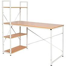 ts-ideen Escritorio de madera mesa de trabajo para el PC fibra de madera marco de metal blanco