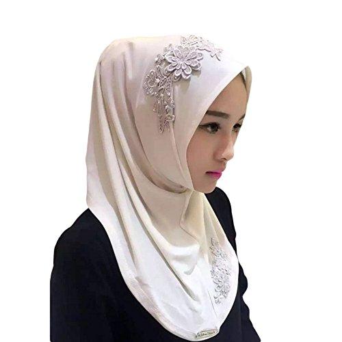 Meijunter Muslim Femmes Couvercle de tête Dentelle Broderie fleur Écharpe Islamic Doux Châle Hijab white