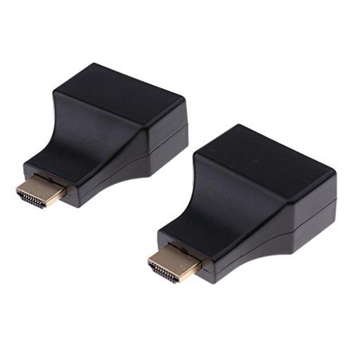 gazechimp 2Pcs HDMI zu Ethernet-Adapter, 1 HDMI Stecker zu Dual RJ45 Buchse RJ45 Extender LAN Konverter, 1080P -
