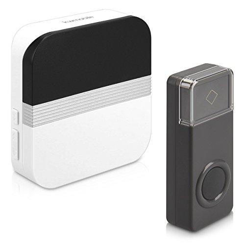 kwmobile Sonnette porte sans fil - Sonnette électronique étanche pour maison jardin ou magasin émetteur + récepteur - Portée 300 m - 52 Sonneries
