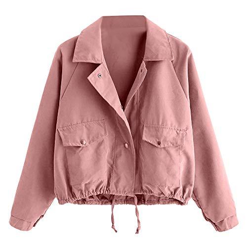 Damen T Shirt, CixNy Bluse Damen Sommer Herbstmode Kurze Rosa Knopf Mantel Jacke Jacke Oberteil Tops Rosa S-XL (Rosa, Small) -