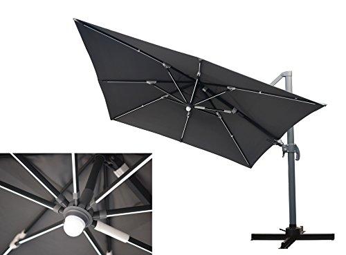LED Leisten Kurbel Ampelschirm Moonlight Quadro Anthrazit 300 x 300, inklusive Ständer, sowohl axial als auch am Mast verstellbar, UV-Schutz 60 Plus, Mandalika Garden