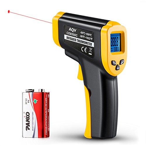 Preisvergleich Produktbild Infrarot-Thermometer, AQV CE8550C Berührungslose Digital-Laser IR-Infrarot-Thermometer, -50 ~ 550  (-58 ~ 1022 ) mit großen LCD-Display-Bildschirm für Lebensmittel-Kühlschrank-Ausrüstung Klimaanlage Liquid oder Solid zu Hause und Industrie Indoor Outdoor