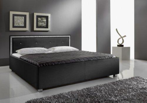 Dreams4Home Polsterbett mit Kunstlederbezug 'Melrose KT1', 140,160,180x200 cm, Schwarz, Liegefläche:160x200 cm