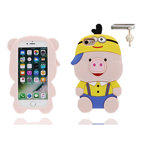 iPhone 7 Custodia, iPhone 7 Copertura 4.7, [ durevole Case Cartoon 3D Cover maiale, orso bear Cap ] + tappi antipolvere con Cartoon [ evidente Pig ], Anti-Shock Dirty # 4
