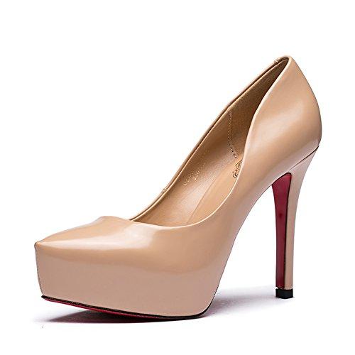 Vernice signora poco profonda caduta moda scarpe a punta/Scarpe tacco alto a spillo-B Longitud del pie=22.3CM(8.8Inch)