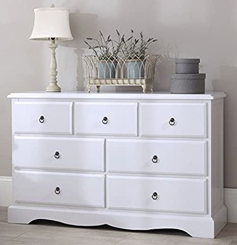 Romance TRUE White Large Chest of Drawers. Large 3 over 4 French chest of drawers. FULLY ASSEMBLED